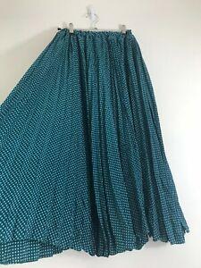 Vintage Boho Turquoise Circle Print Maxi Skirt Size 8/10 Hippie Gypsy Prairie