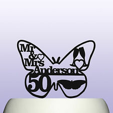 Personalised Acrylic 50th Golden Wedding Anniversary Butterfly Cake Topper