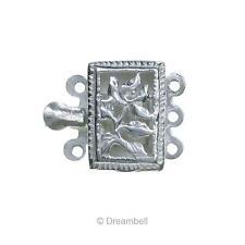 925 Sterling Silver Filligree Rectangular Flower Leaf 3 Strand Pearl Box Clasp