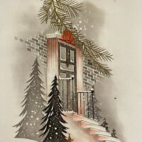 Vintage Early Mid Century Christmas Greeting Card Pink Snowy Porch Steps Trees