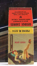 Rare Vintage Matchbook Cover R3 San Diego California George Zarkos Wife Pet Cage