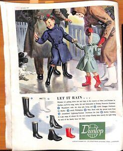 Original Vintage 1940s Dunlop Rubber Co. Shoe Advert- Picture Post Oct. 1949