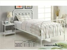NEW SINGLE CHISTINA METAL BED FRAME - WHITE