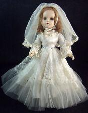 "Vintage Madame Alexander 17"" Strawberry Blonde Bride Margaret Doll Wedding Dress"