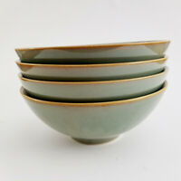 Sango PASSION GREEN Bowls Set of 4  Soup Cereal Salad 4962 Retired Stoneware