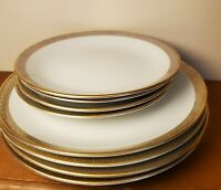"Lot of 8 Vintage Rorstrand ""Exclusiv 4"" MCM Art Deco Plates Gold Trim Design"