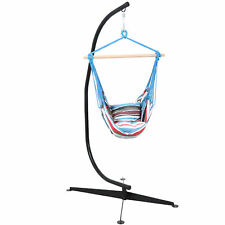 Sunnydaze Hanging Hammock Chair Swing with 2 Cushions and C-Stand - Cool Breeze