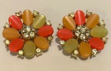 Vintage Lisner Colorful Thermoset Rhinestone Silver Tone Clip Flower Earrings