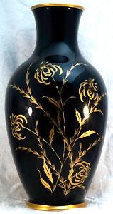 Large Royal Bavaria Porcelain Vase Cobalt Blue with Gold Floral Decoration