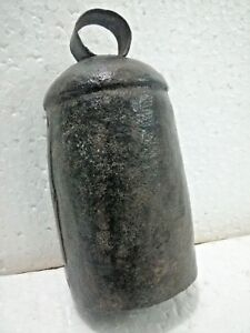 """c.1900 Antique 6.25"""" Hand Forged ~ OLD VINTAGE  IRON ~ Cow Bell w/ Patina"""