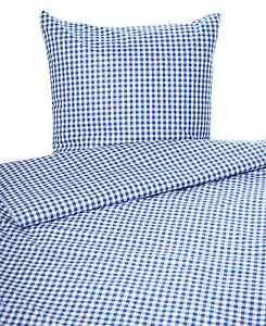 Landhaus Bettwäsche Züchen Karo Vichy Baumwolle blau weiß