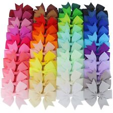40 x Boutique Grosgrain Ribbon Pinwheel Hair Bows Attached With Alligator Clips