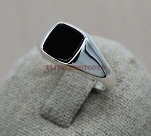 Natural Black Onyx Gemstone with 925 Sterling Silver Ring for Men's EG1290