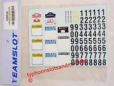 P00016 Team Slot  ' Rally Plates '  Decal Sheet - New & Mint