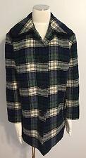 PENDLETON Vintage Wool Plaid Blue Peacoat Jacket Women's Size XL