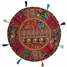 Indian Floor Pillow Cover Round Patchwork Vintage Boho Embroidered Cotton 18x18