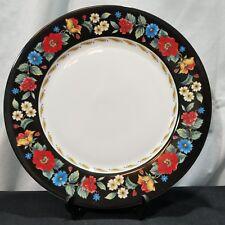 Vera Bradley Dinner Plate VERA Andrea By Sadek  Floral Black  Lot of 3