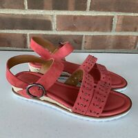 New Caslon red leather low wedge studded sandals Women's Size US 8.5 M