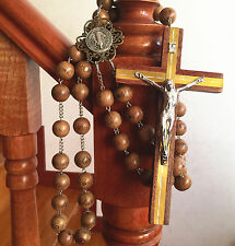 Large 20mm Wood beads Wall Wooded Rosary Catholic crucifix cross Gift box