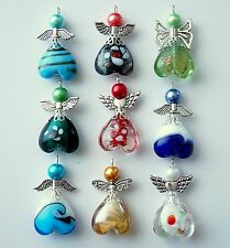 9x Mixed Larger Angel Charms Lampwork Heart Beads Silver Wings COLOURS MAY VARY