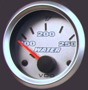VDO Cockpit Titanium Water Temp Gauge 40 to 120 degrees 52mm Silver Bezel