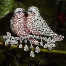 Magnificent Gorgeous Queen Pink Sapphire & Sparkling CZ Lover Birds Women Brooch