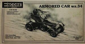 ARMOURED CAR WZ 34 POLISH ARMY 1936 - ENCORE (USA) 1/35 BRAND NEW + RUBBER TYRES