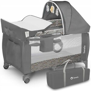 BABY BED TODDLER KIDS TRAVEL COT CHANGING ACCESSORIES SVEN LIONELO Grey Scandi