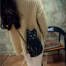 Cute Yellow Eyes Black Cat Shaped Faux Leather Chain Strap Coin Purse Cross Body