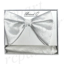 New in box formal Men Pre-tied long style patterned Bow tie & Hankie White