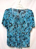 MOONLIGHT BAY Woman top shirt blouse 14/16W Bust 48 liquid fabric'Teal-BlueMulti