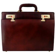 ZINT Genuine Leather Hard Briefcase Men Women Attache Bag Slim Vintage Style