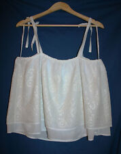 Lucky Brand Women L Eyelet Layered Baby Doll Strappy Tank Top White NWT