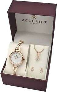 New Ladies Accurist 3 Piece Watch Necklet & Earring Rose Gold Set 8189G Rp £149.