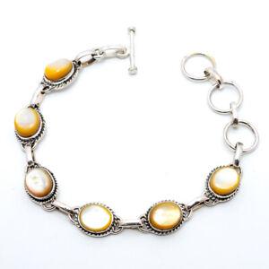 "Mother Of Pearl Gemstone 925 Sterling Silver Tennis Bracelet 7.99"" B1480-40"