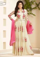 Indian Designer Party Georgette White UnStitch Salwar Suit Dress Gown Pakistani