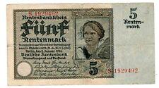 Allemagne GERMANY Billet 5 RENTENMARK 1926 P164  BON ETAT