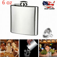4-18 oz Stainless Steel Pocket Hip Flask Alcohol Whiskey Pot Screw Cap Funnel