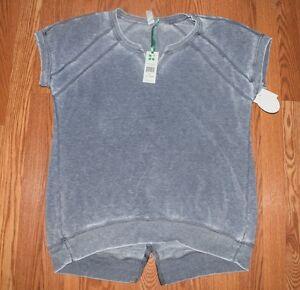NWT Womens Green Tea Indigo Blue Mineral Wash S/S Pullover Sweat Shirt Sz Medium