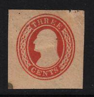 1854 stationery cut square Sc U9 unused 3c red CV $40