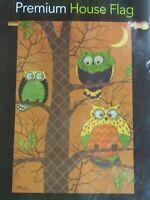 "Autumn Owls Premium House Flag  Briarwood Lane 28"" x 40"" brown fall colors owl"
