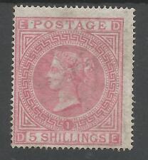 SG127 THE 1867 5/- PALE ROSE (DE) PLATE 1 FRESH MINT EXAMPLE CAT £11,000