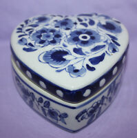Vintage Blue/ White Mini Porcelain / Bisque Covered Heart Trinket Dish