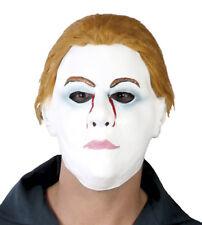 Halloween Fancy Dress Mask White Serial Killer Knife Man 80s With Hair Bleeding