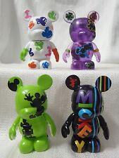"Disney Vinylmation Oh Mickey SET OF 4 Black White Green Clear Purple 3"" Figures"