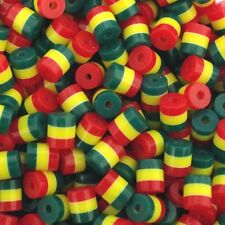50 x ACRYLIC Tube BEADS CYLINDER RASTA STRIPE  9mm x 8mm JEWLLERY MAKING A20