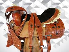 PRO WESTERN BARREL RACING HORSE SADDLE 15 16 TRAIL PLEASURE CROSS TOOLED PAINTED
