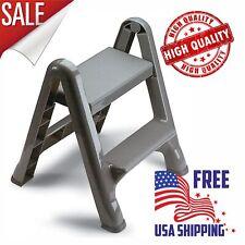 Step Stool Folding 2-Tier Ladder Non-Slip Lightweight Portable Sturdy Home Grey