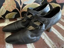 1910s Antique Edwardian Shoes Blk Leather Button up Mary Jane Spool Heels 9.75�