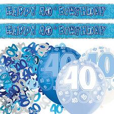 Blue Silver Glitz 40th Birthday Banner Party Decoration Pack Kit Set